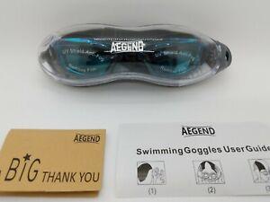 Aegend Swim Goggles, Swimming Goggles. Anti Fog, UV Shield. Blue Lenses w/ Black