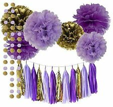 03663662e3ee Qian s Party Purple Lavender Glitter Gold Baby Shower Tissue Paper Pom