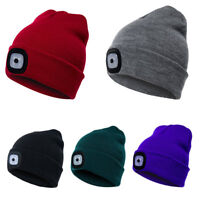 Women Men Winter Knitted Beanie Wool Cap with 4 LED Head Light Torch Warm Hat