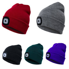 65222c1fb90 Women Men Winter Knitted Beanie Wool Cap with 4 LED Head Light Torch Warm  Hat