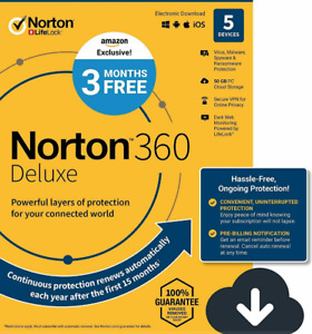 Norton 360 Deluxe Antivirus Software for 5 Devices 12 months Licence key