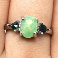 Vintage Antique Green Opal Ring Women Wedding Engagement Jewelry Nickel Free