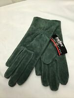 NEW Vintage Fownes Dark Green Suede Lined Womens Medium Driving Gloves WPL 9522