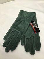 NEW Vintage Fownes Dark Green Suede Lined Womens Medium Driving Gloves WPL 9522