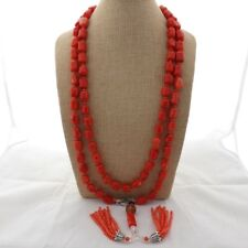 "Rhinestone Pave  Tassel Orange Coral Nugget Long  65"" Necklace"