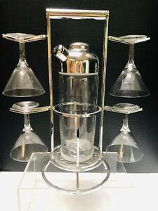 Cocktail Shaker And Martini Glasses Set On Chrome Stand - Atomic Age Look MCM