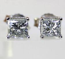 Diamond stud earrings 14K white gold princess brilliant basket mount studs .90CT
