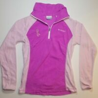 Columbia Womens Breast Cancer Fleece Jacket Pink Lavender 1/4 Zip Size Small