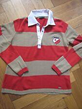 Pullover Größe S 36 Poloshirt rot beige gestreift neuwertig Langarm Herbst