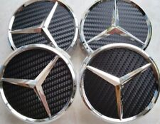 4 PC SET Mercedes Benz Wheel Center Caps Emblem Black Carbon Fiber Hubcaps 75MM