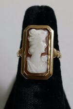 Vintage 10K Yellow Gold Carved Shell Cameo Ring - Size 5.5