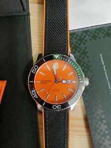 Rare Orange Christopher Ward C60 Trident Pro 600 bracelet rubber leather