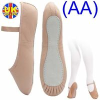 Pink Leather Ballet Dance Shoes, full suede sole elastics (irish jig pumps) (AA)