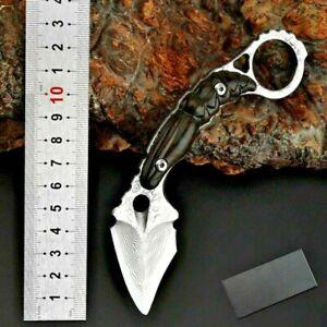 Mini Claw Knife Karambit Hunting Combat Tactical VG10 Damascus Steel Premium Cut