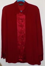 Carole Little Red Acetate/Rayon Asian Style Long Sleeve Shirt - Misses 8-NWOT