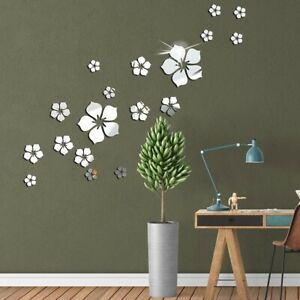 18Pcs Acrylic Flower Petal Shape 3D Mirror Effect Home Wall Decal Sticker Vinyl