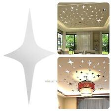 43pcs Silver Star Decal Mirror Wall Stickers Room Paster for Ceiling Proof Platf