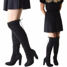 Womens Wide Leg Thigh Over The Knee Wide Fit Stretch Black Suede High Heel Boots