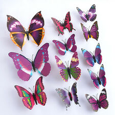 Purple 3D DIY Butterfly Wall Sticker Butterfly Home Decorat Room Stickers 12PCSt