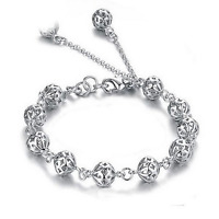 925 Silver Plated Women Ladies Hollow Beads Bangle Chain Charm Bracelet Jewelry