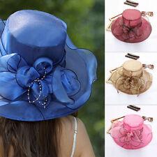 Elegant Formal Lady Wide Brim Kentucky Sun Hat Women Wedding Tea Party Cap~