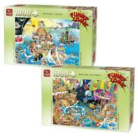 Set of 2 x 1000 Piece Comic Jigsaw Puzzles - Rocking Stones & Boston Tea Party
