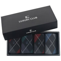 LUXURY CLUB Men's Business Dress Argyle Socks Cotton Gift Set Lot Pack of 4Pairs