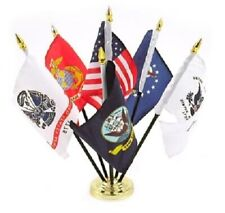 """Armed Forces Set With Usa Flag And Base 4X6"""" Table Top Set Desk Set New"""