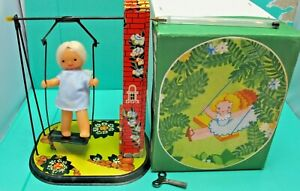 Vintage Made In USSR - Tinplate Wind up Girl On A Swings 24cm Tall - (1649)