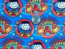 Dad Fabric-Super Amazing Awesome-Father-Daddy-Blue Flannel-Sew A Special Gift!