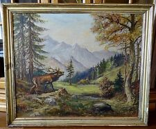 Originale künstlerische Öl-Malerei mit Hirsch-Motiv der Zeit