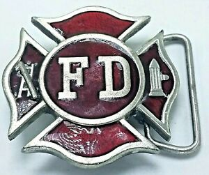 Vintage 1979 Pewter & Red Enamel Fire Department FD Belt Buckle Bergamot M-96