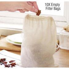 10x Reusable Nut Milk Tea Fruit Juice Cotton Mesh Strain Filter Bag 8 x 10cm PW