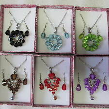 Wholesale & Job Lots 12 Petal Flower Glass Necklace Earring Sets RB24