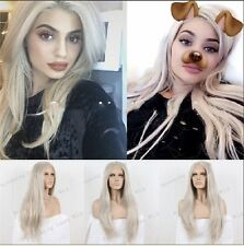 Natural Light Platinum Blonde Long LaceFront Women Full celebrity Hair kylie Wig