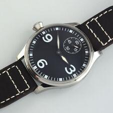 44MM PARNIS MECHANICAL hand-winding 6498 Black dial Luminous Mens Watch 209