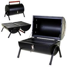 BBQ PORTABLE BARREL BARBECUE TABLE TOP OUTDOOR GARDEN CAMPING TRIP COOKING BLACK