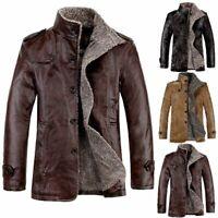 Mens Winter Lamb Fur Leather Warm Jacket Coat Zip Lining Thick Coats Jacket Coat
