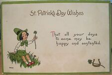 Irish Postcard ST PATRICK'S DAY WISHES Happy and Contented S Bergman 8400 1914
