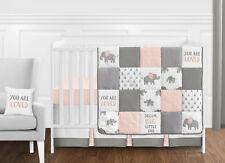 Bumperless Blush Pink Watercolor Elephant Safari Baby Girl 11p Crib Bedding Set