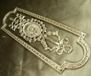 VINTAGE GOLD GILT BRONZE ORMOLU DOOR FINGER PLATE / PUSH #2 garlands