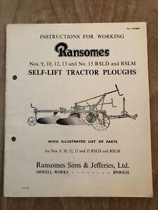 Original Ransomes Sims & Jefferies Self-lift Tractor Plough Manual Parts List