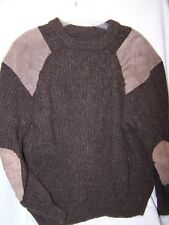vintage Brown Military Crew Neck Police Wool Leather Elbow Patch Sweater