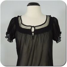 EXPRESS Woman's Black Sheer Blouse, Smocked Neck, Sleeves and Bottom, size S