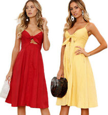 Retro Women Backless Halterneck Sundress Button Down Bowknot Party Dress Skirt