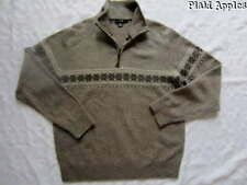 J Crew Mens Sweater Nordic Fair Isle Lambs Wool Sz Brown Half Zip Sz L