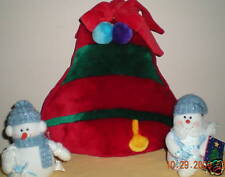 """13"""" Multi-Color Plush Christmas Bell with Snow People"""