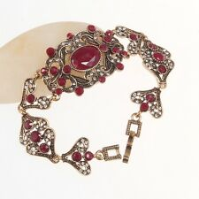 Noble Green Red Rhinestone Gold Plated Anniversary Jewelry Lady 18.5cm Bracelet