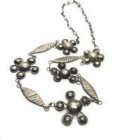 """Vintage Sterling Silver Necklace 925 19"""" Mid Century Flower"""