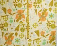 Floral print fabric 2 3/4 yards orange green white gold